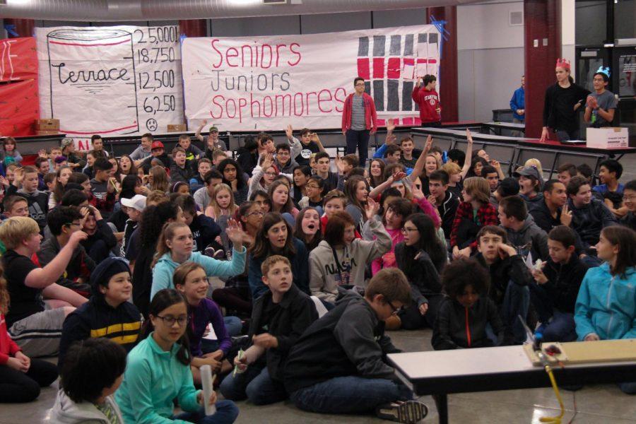 Eighth graders listen to a presentation by MTHS STEM teacher Bryan Smelcer.