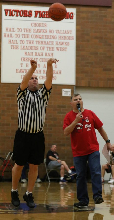 Todd Weber releases the ball during the Half-Court Shot Contest.