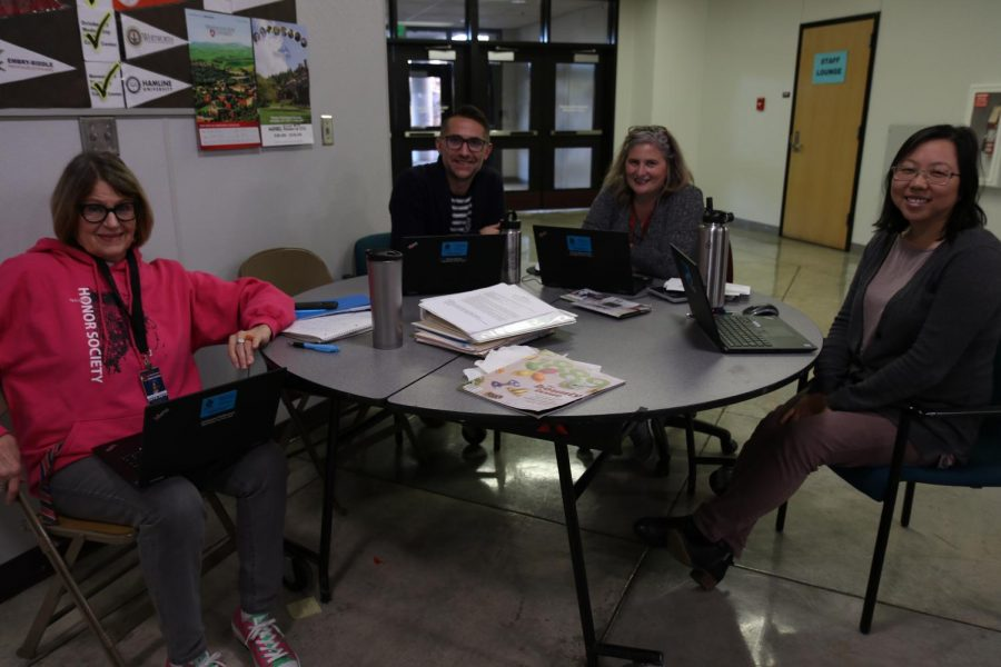 MTHS counselors Julianne Petterson, Brad Serka, Tanya Benvenuti and Allison Hong sit outside of the counseling center during lunch to talk with students about their academics and post-high school plans without appointments.