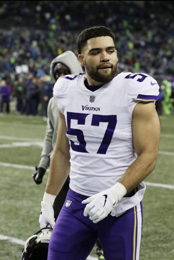 A+rookie+for+the+Minnesota+Vikings%2C+Devante+Downs+%28MTHS+%2714%29+was+an+incredible+two-way+player+for+the+Hawks.+He+played+special+teams+in+the+Vikings+21-7+loss+to+the+Seahawks+on+Monday+Night+Football%2C+Dec.+10+at+Century+Link+Field.