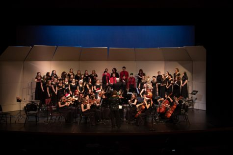 The combined MTHS choirs and orchestra crescendo to a climax as the concert comes to a conclusion.