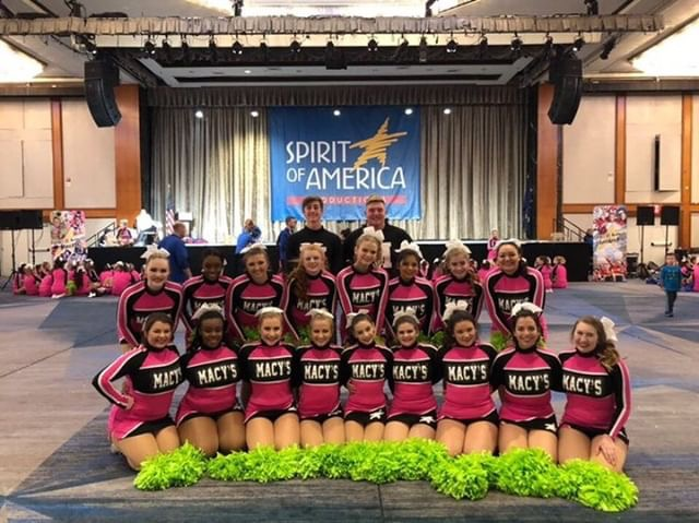 The 2018 Spirit of America Cheerleading team poses for a photo.
