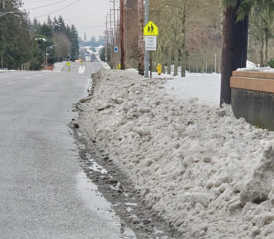 There's a sidewalk under that mound of snow, and it's a popular route for students. (Caption and photo courtesy of the Edmonds School District)