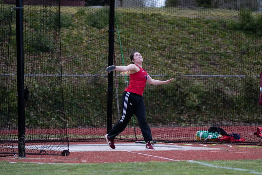 Senior McKenzie Davis takes first at the Terrace Jamboree in discus.