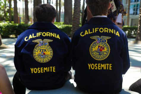 FFA members showcase the California FFA patches on the backs of their jackets.
