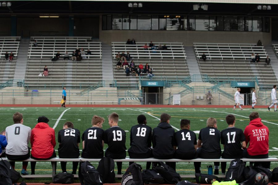 Players on the bench discuss amongst themselves in front of the sparse crowd at Edmonds Stadium.