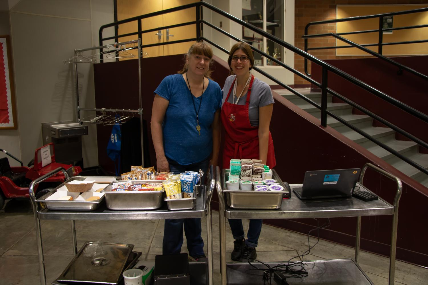 Barb Green and Elettra Paparella are seen giving out breakfast to students during every nutrition break. They operate the new service cart on the second floor by the theater.