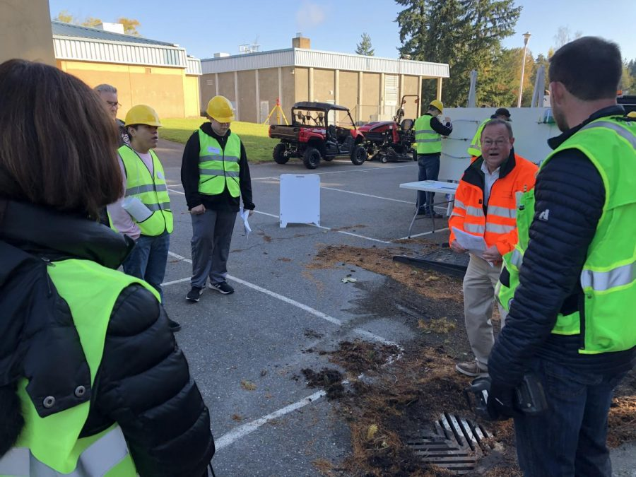 Land surveyors teach about their process in measuring designs, like shopping centers, housing developments, and schools.