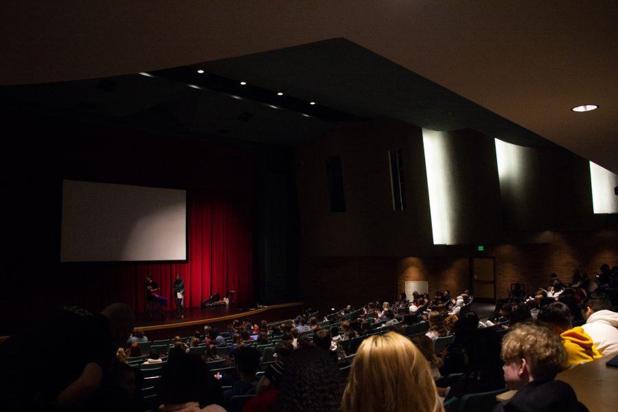 Students fill the theater during the PASS assembly.