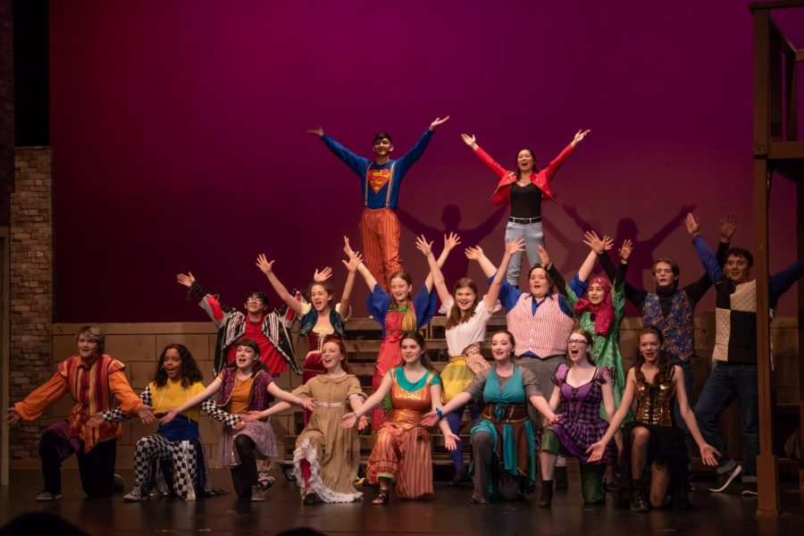 The Godspell cast poses for the ending of 'All For The Best' song.