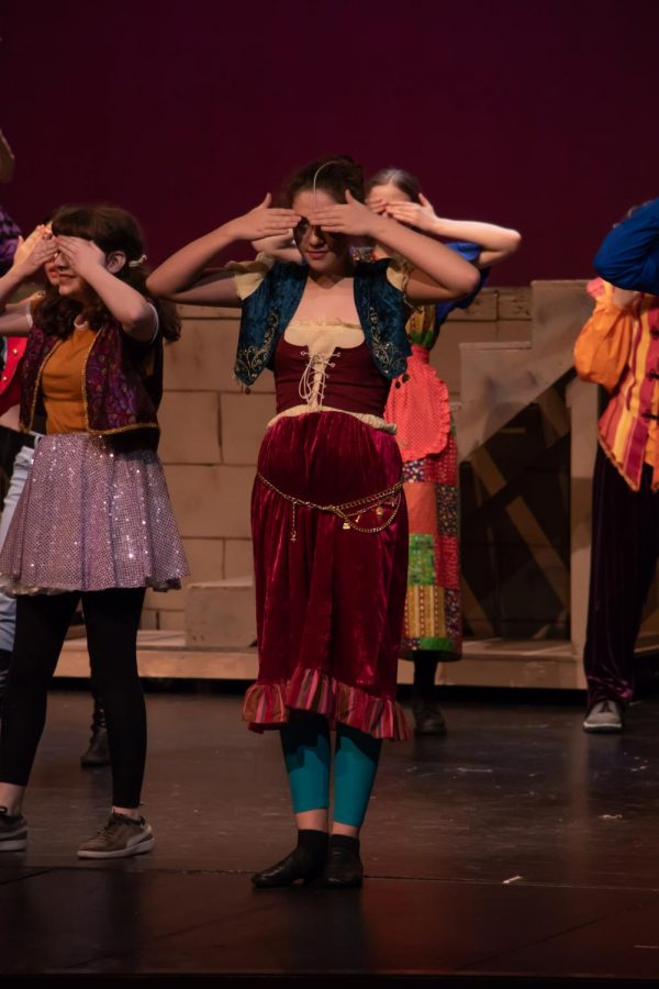 Sage Jennings, freshmen, who plays as herself, performs the choreography from