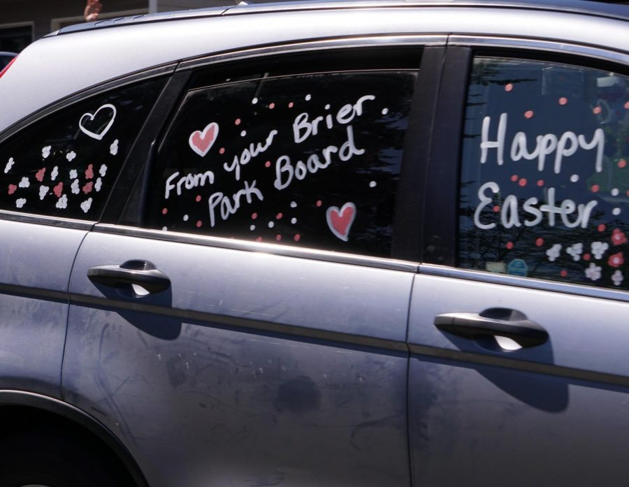 One of the cars in the parade adorned with Easter cheer. Volunteers decorated their cars and escorted the Easter Bunny along the parade route through local neighborhoods.