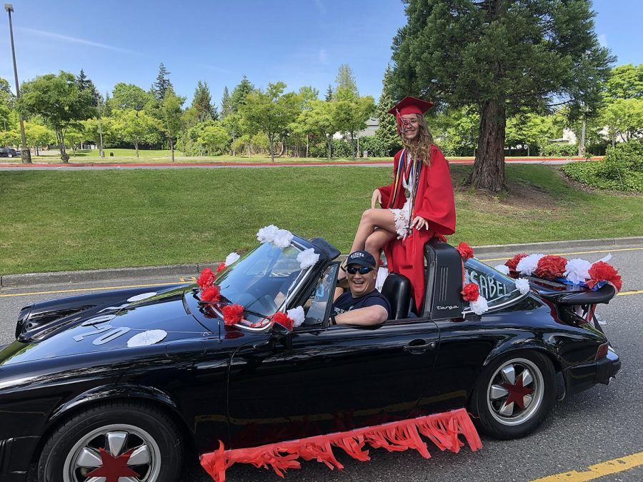 Isabel Ong, one of this year's valedictorians, is delivered in style to the 2020 Virtual Graduation by her family in a Porsche convertible.