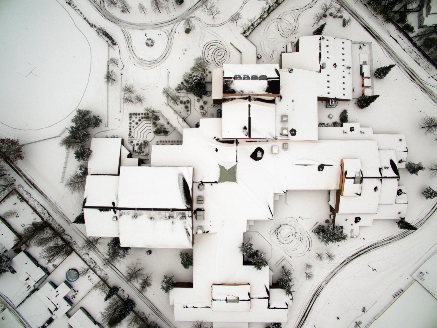 Snow blankets the entire MTHS campus following two straight days of record precipitation. This shot was taken from about 200 feet above the main building on Feb. 14, 2021.